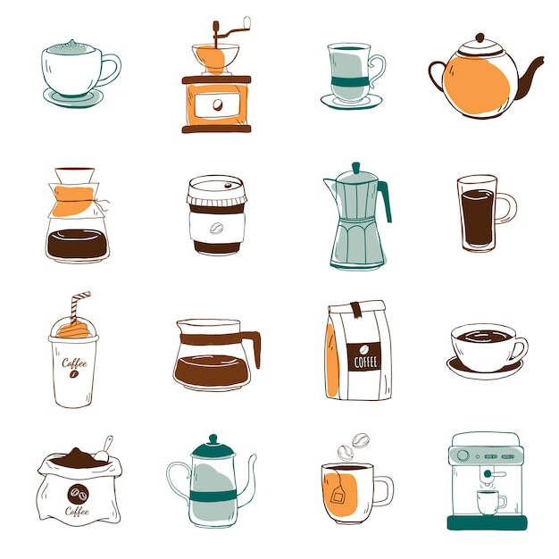 コーヒーショップのアイコンベクトルのセット 無料ベクター