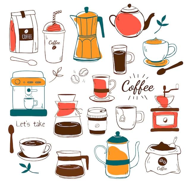 カフェとコーヒーの家パターンベクトル 無料ベクター