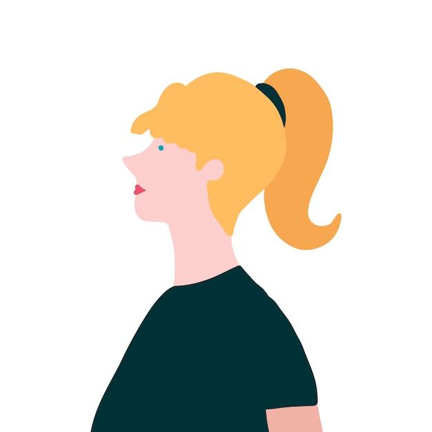 Сильная белокурая женщина в векторе профиля Бесплатные векторы