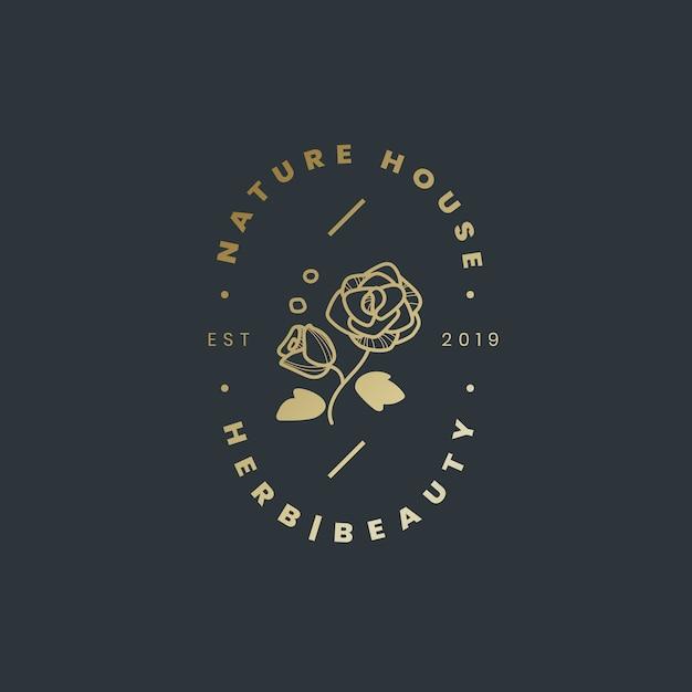 ネイチャーハウスのロゴデザインベクトル 無料ベクター