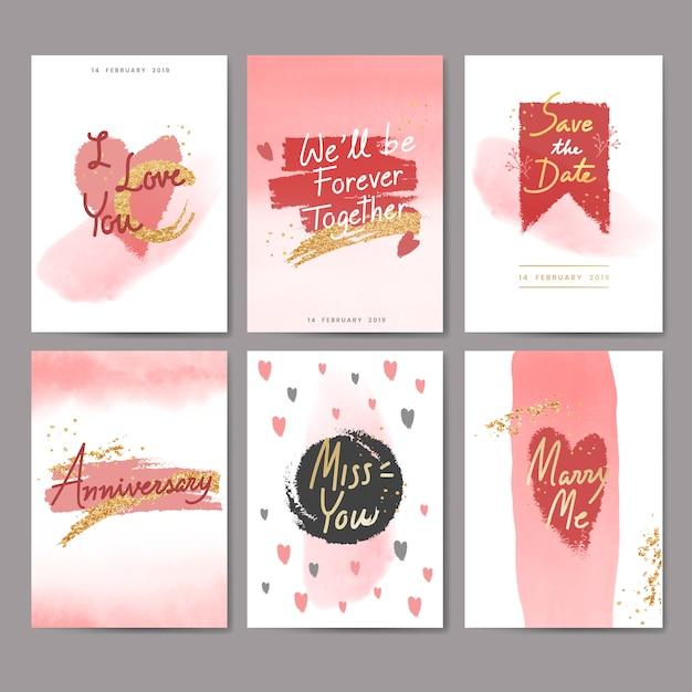 甘いバレンタインカードデザイン 無料ベクター