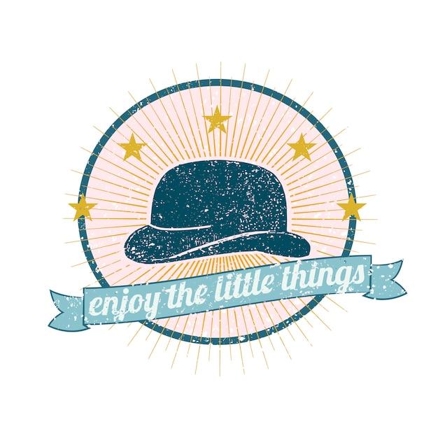 メンズ帽子のロゴの図 無料ベクター