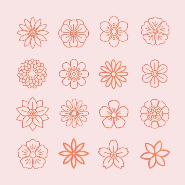 Цветочный узор и цветочные значки Бесплатные векторы