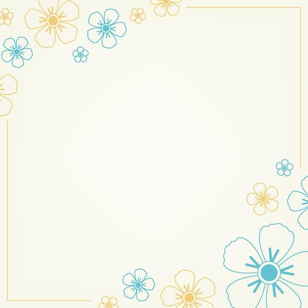 青と黄色の花柄 無料ベクター
