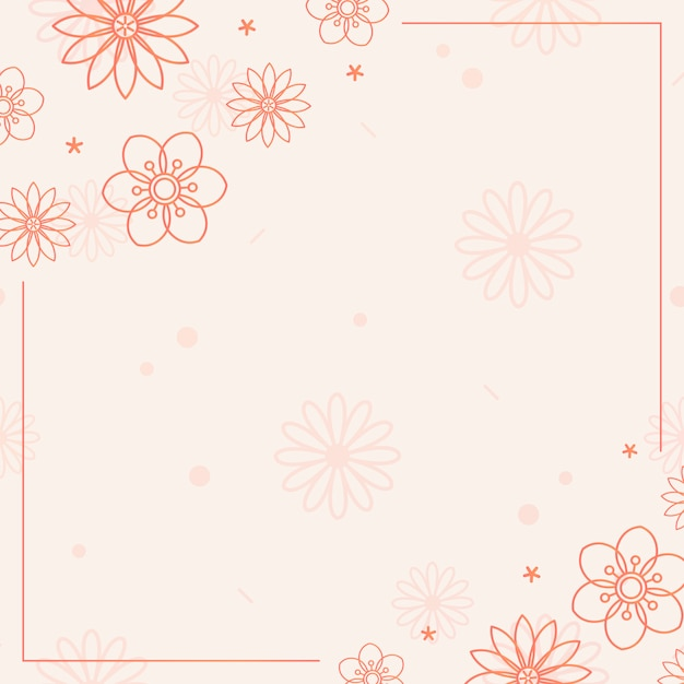 オレンジ色の花模様 無料ベクター