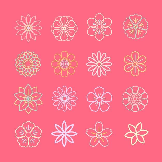 Цветочный узор и значки Бесплатные векторы