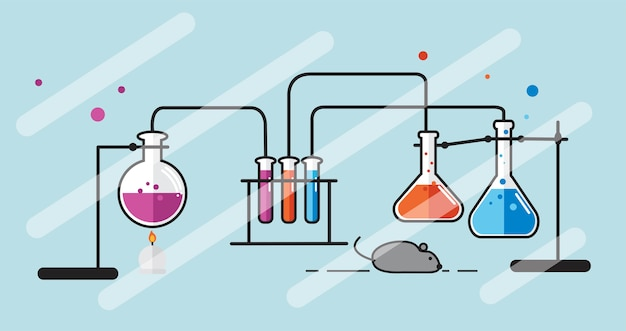 化学実験器具セットのイラスト 無料ベクター