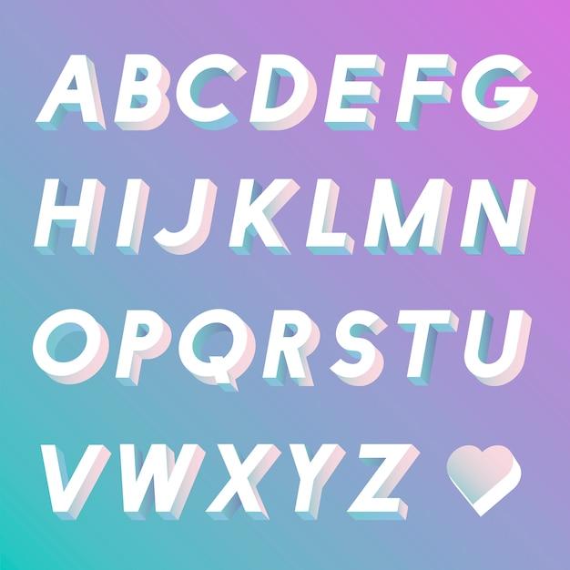アルファベットベクトルのセット 無料ベクター