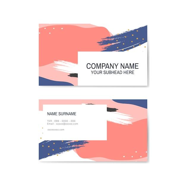 Красочная визитная карточка с узором мемфис Бесплатные векторы