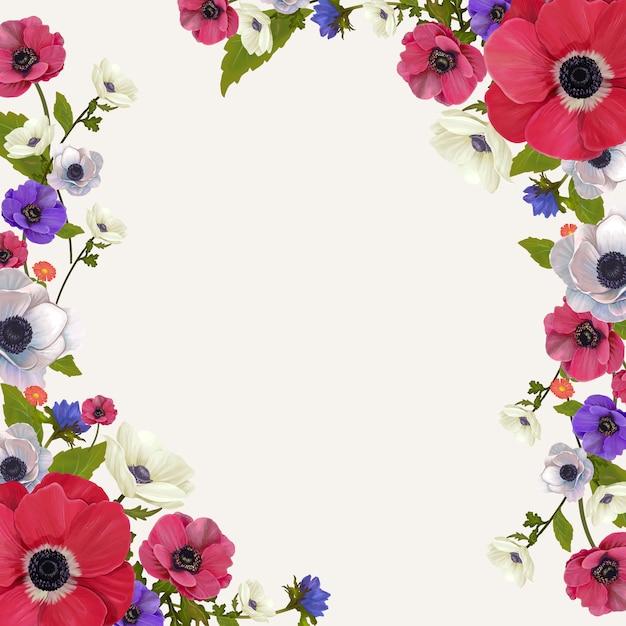 花のモックアップフレームイラスト ベクター画像 無料ダウンロード
