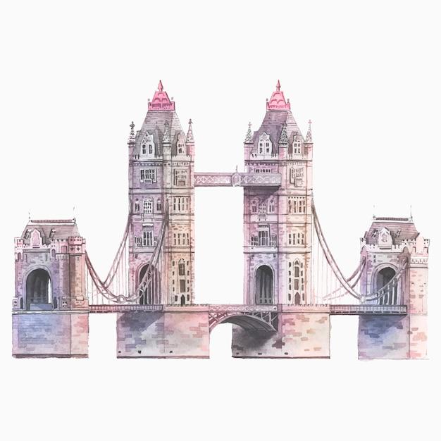 Лондонский тауэрский мост, нарисованный акварелью Бесплатные векторы