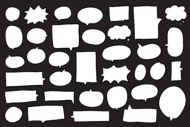 黒の背景のベクトルにスピーチの泡のコレクション 無料ベクター