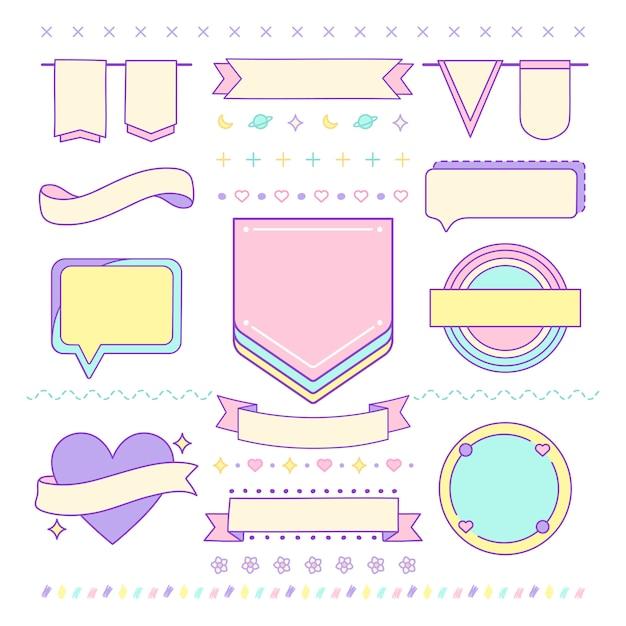 Различные милые и девчачьи элементы дизайна векторов Бесплатные векторы