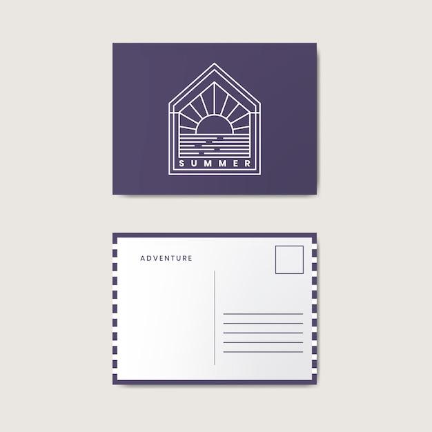 ポストカードデザインテンプレートモックアップ 無料ベクター