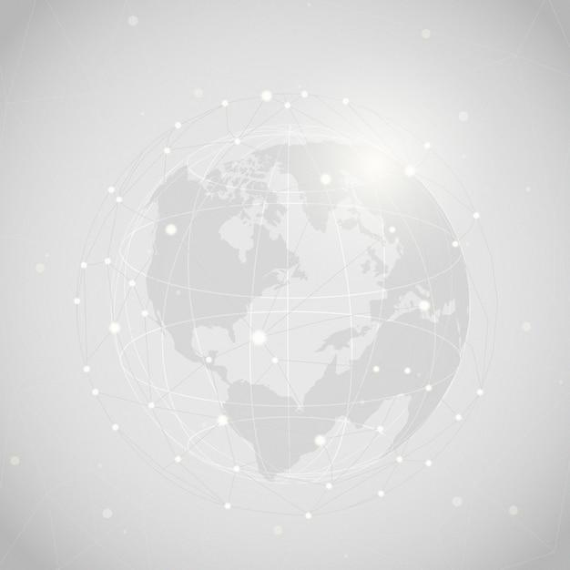 世界的な接続灰色の背景イラスト 無料ベクター