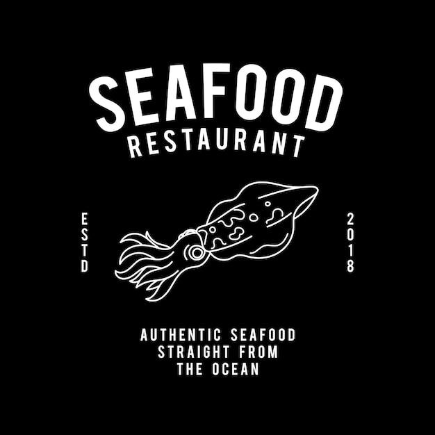 Ресторан морепродуктов текст дизайн вектор Бесплатные векторы