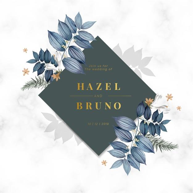 青い花の結婚式の招待カード 無料ベクター