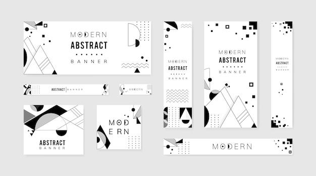 Абстрактный современный черно-белый набор шаблонов Бесплатные векторы