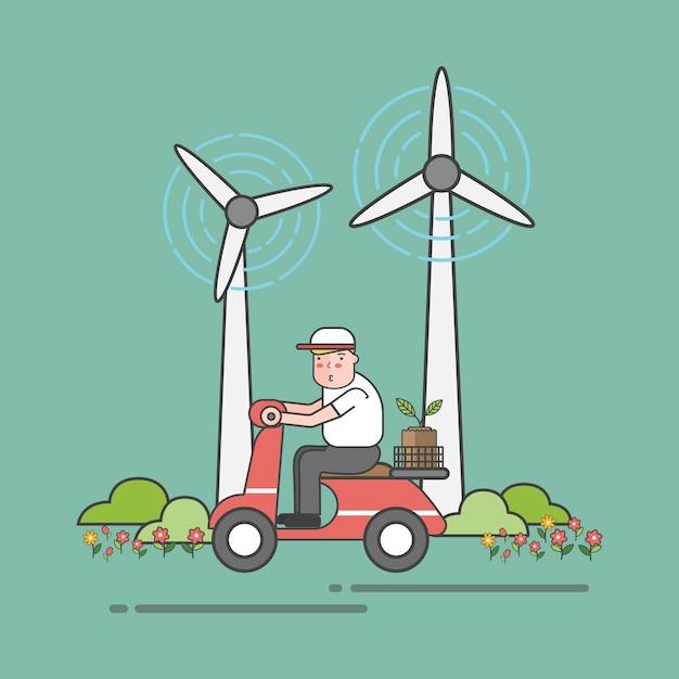 Иллюстрация набор экологического вектора Бесплатные векторы