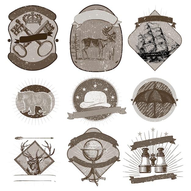 Коллекция старинных логотипов Бесплатные векторы