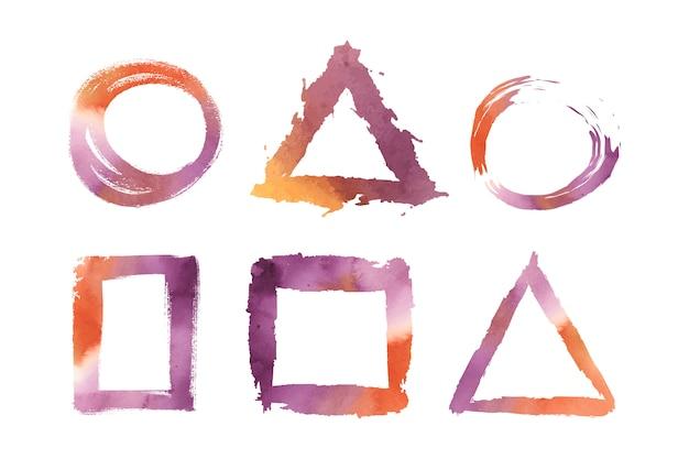 水彩の幾何学的図形ベクトルを設定 無料ベクター