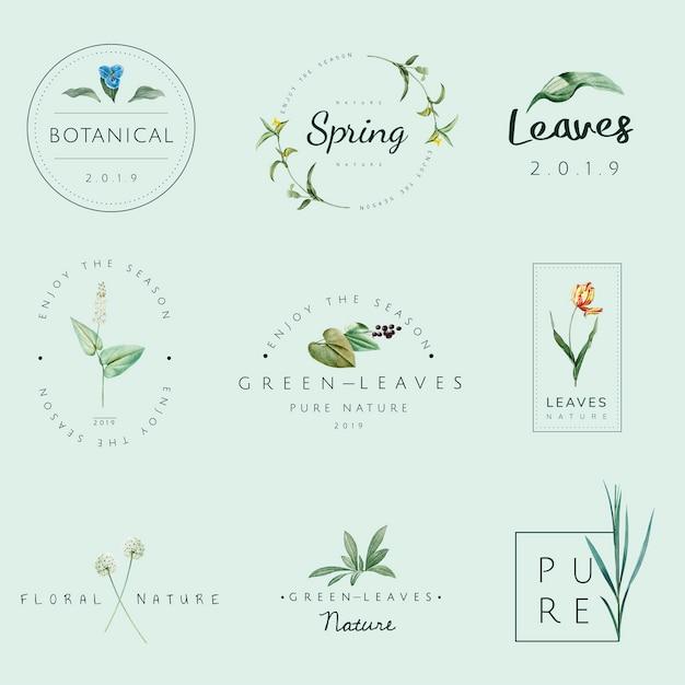 自然と植物のロゴのベクトルのセット 無料ベクター