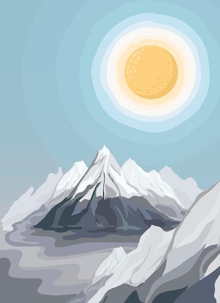 Иллюстрированный пейзаж с видом на горы Бесплатные векторы