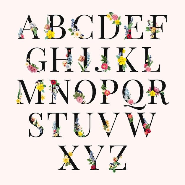 アルファベットの花の背景イラスト 無料ベクター