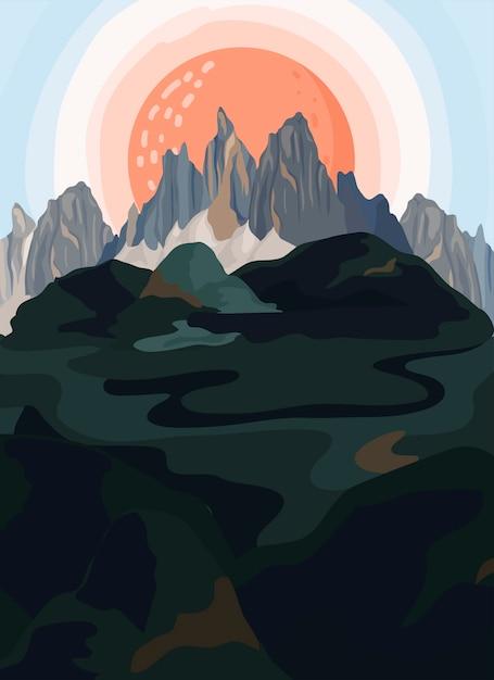 ペイントマウンテンビューの風景のイラスト 無料ベクター
