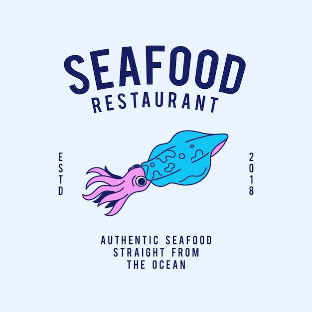 シーフードレストランのテキストデザインのベクトル 無料ベクター