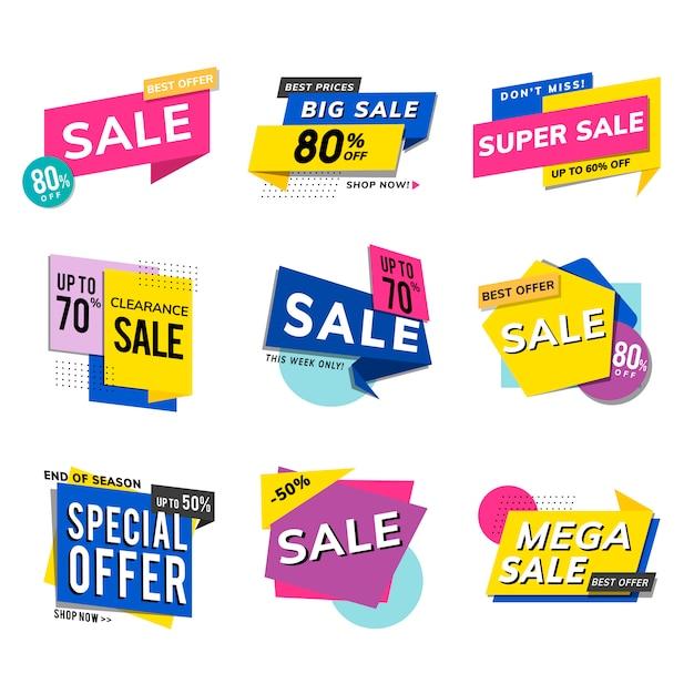 Продажа продвижение рекламы векторный набор Бесплатные векторы