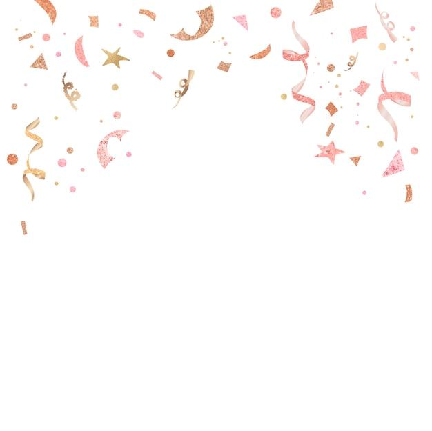 淡いピンクの紙吹雪のお祝いデザイン 無料ベクター