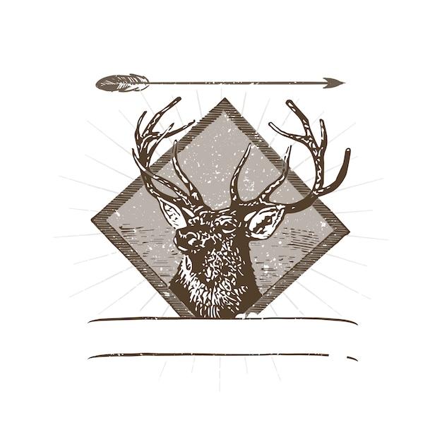 Иллюстрация логотипа дикого оленя Бесплатные векторы