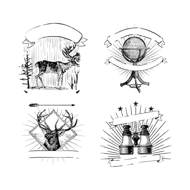 ビンテージのロゴとステッカーのコレクション 無料ベクター