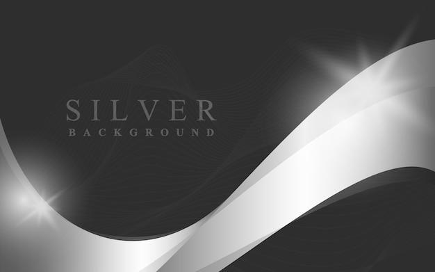 銀の波の抽象的な背景イラスト 無料ベクター