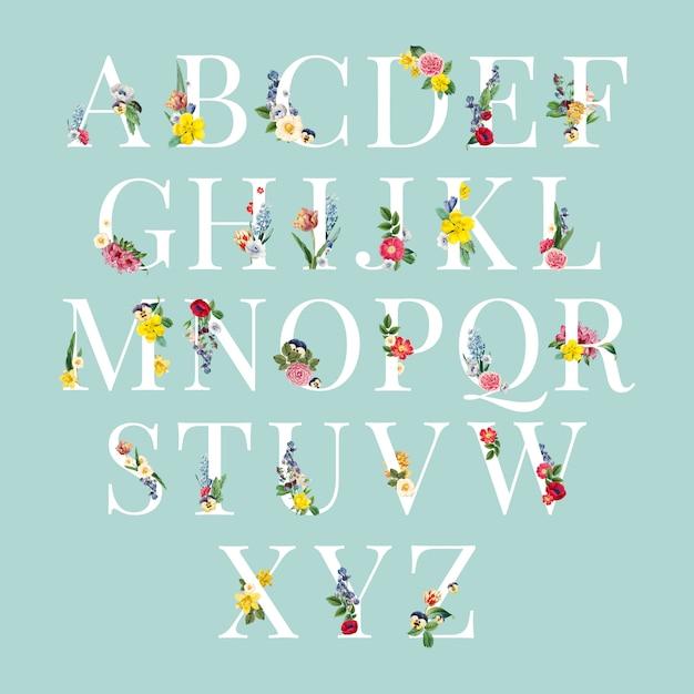 Алфавит цветочный фон иллюстрации Бесплатные векторы