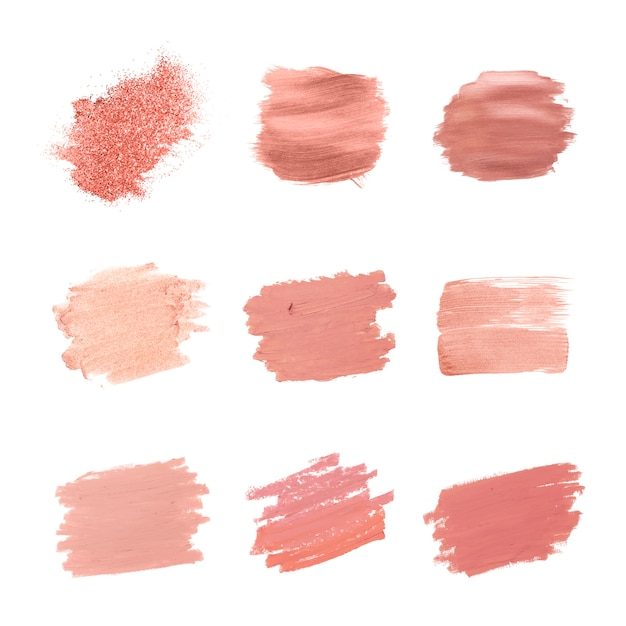ピンクのブラシストロークコレクション 無料ベクター