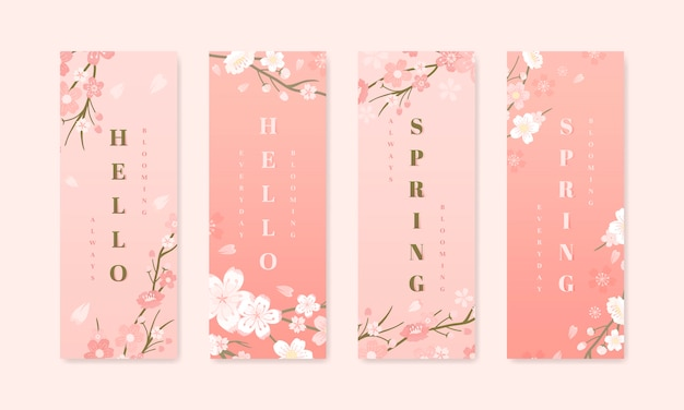 桜の背景コレクション 無料ベクター