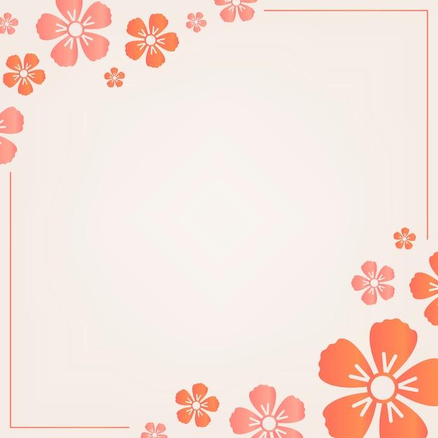 オレンジ色の花のフレーム 無料ベクター