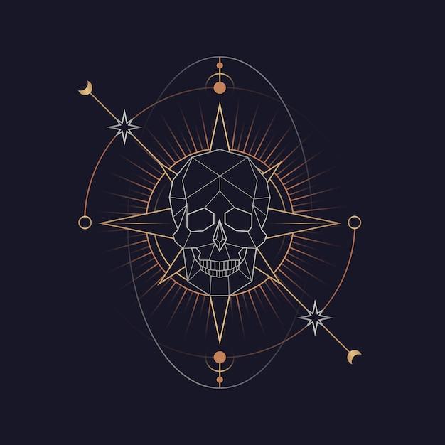 幾何学的な頭蓋骨の占星術のタロットカード 無料ベクター