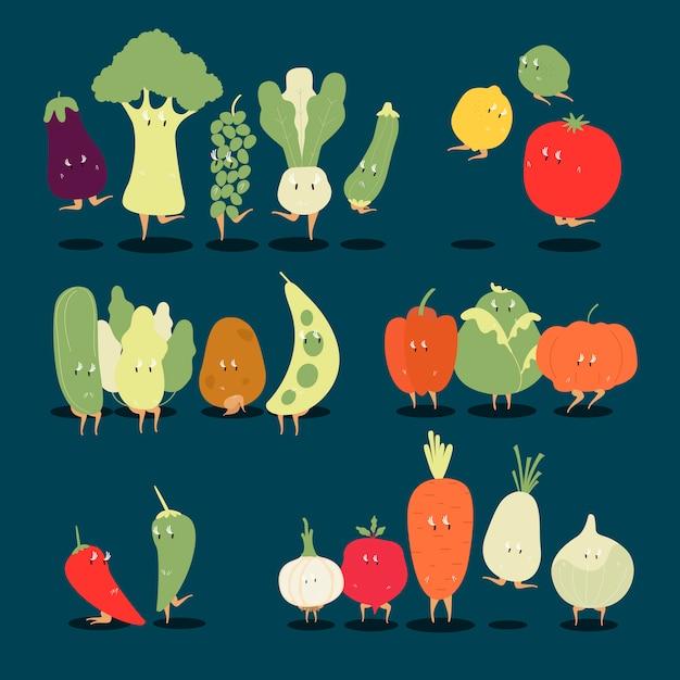 様々な有機野菜漫画のキャラクターのベクトルのセット 無料ベクター