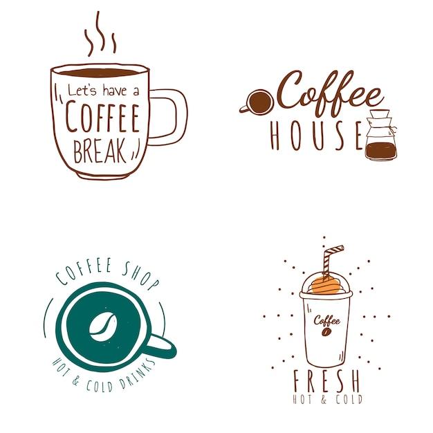コーヒーショップのロゴのベクトルのセット 無料ベクター