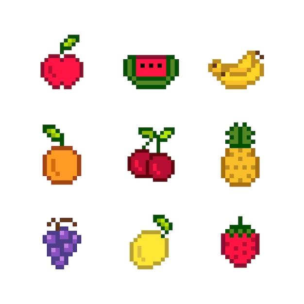 混合ピクセル化果実のコレクション 無料ベクター