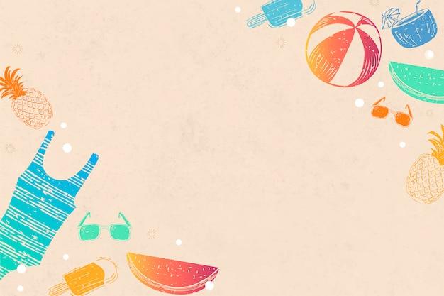 オレンジ色の夏の背景 無料ベクター