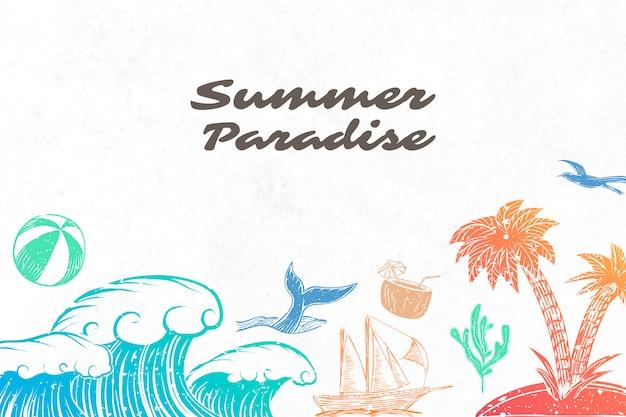 夏の楽園の背景 無料ベクター