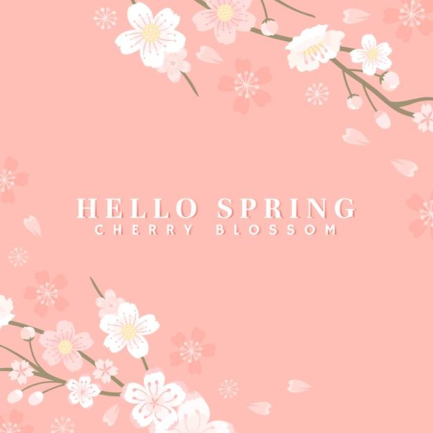 ピンクの桜の背景のベクトル 無料ベクター