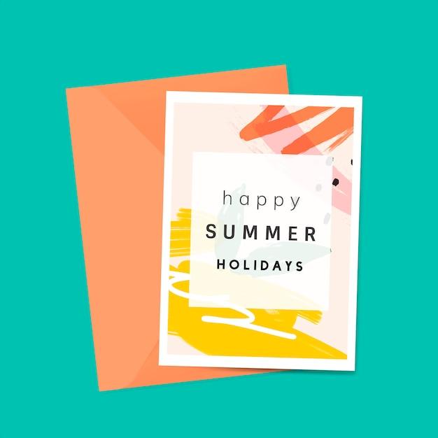 メンフィス夏カードデザインのベクトル 無料ベクター