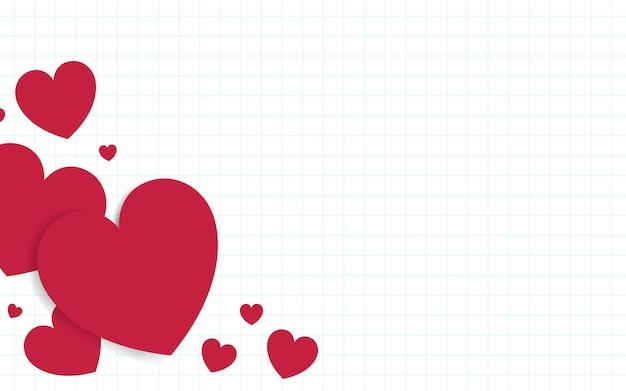 赤いハートの背景デザインのベクトル 無料ベクター