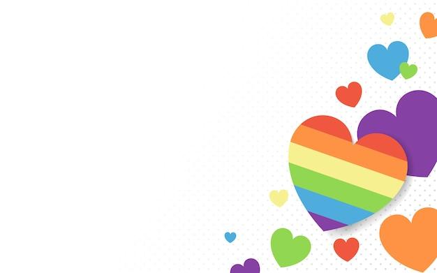 虹色の心の背景のベクトル 無料ベクター