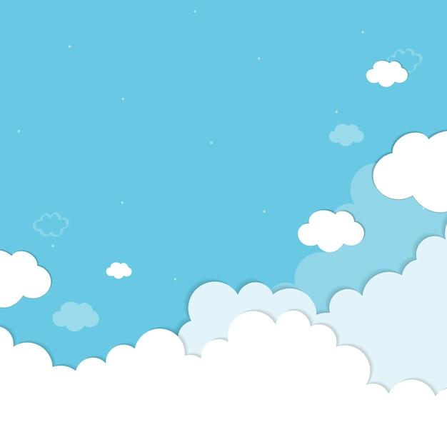 Голубое небо с облаками рисунком фона вектор Бесплатные векторы